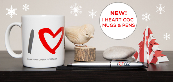 New at the COC Opera Shop: I heart COC mugs and pens